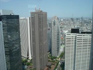 Au sud, les grands immeubles (et la Tokyo Sky Tree au fond)